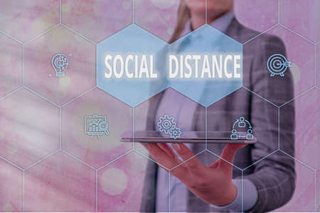 Handwriting text Social Distance. Conceptual photo maintaining a high interval physical distance for public health safety Grids and different set up of the icons latest digital technology concept