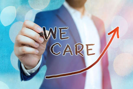 Conceptual hand writing showing We Care. Concept meaning Cherishing someones life Giving care and providing their needs Digital arrowhead curve denoting growth development concept