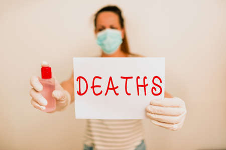 Text sign showing Deaths. Business photo showcasing permanent cessation of all vital signs, instance of dying individual Promoting health awareness with set of medical precautionary equipment Foto de archivo