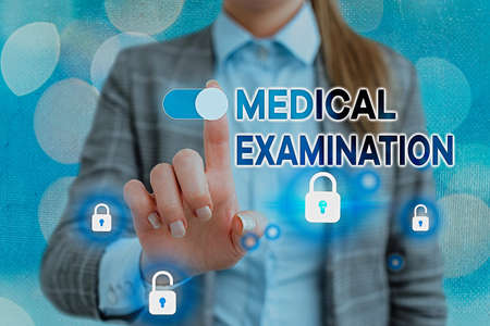 Word writing text Medical Examination. Business photo showcasing the examination carried out to determine physical fitness Graphics padlock for web data information security application system