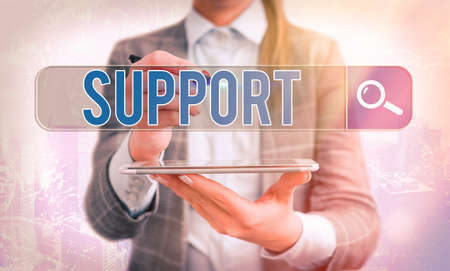 Word writing text Support. Business photo showcasing maintain, sustain, uphold all mean to hold up and to preserve Web search digital information futuristic technology network connection