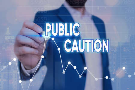 Writing note showing Public Caution. Business concept for formal warning given to the public to express a potential risk Arrow symbol going upward showing significant achievement Banque d'images