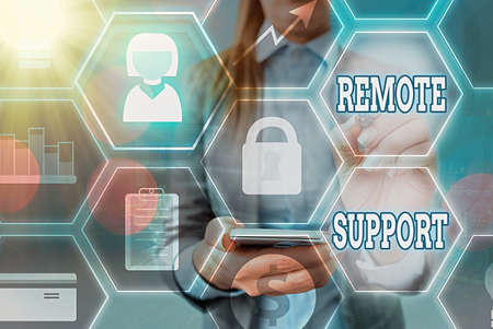 Word writing text Remote Support. Business photo showcasing type of secure service, which permits representatives to help Grids and different set up of the icons latest digital technology concept