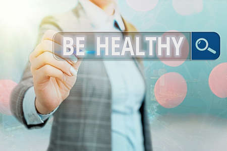 Writing note showing Be Healthy. Business concept for promote a state of complete emotional and physical wellbeing Web search digital information futuristic technology network connection