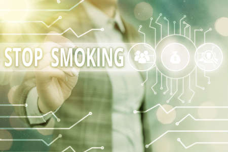 Word writing text Stop Smoking. Business photo showcasing the process of discontinuing or quitting tobacco smoking System administrator control, gear configuration settings tools concept Фото со стока