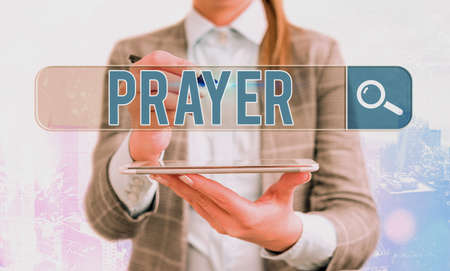 Word writing text Prayer. Business photo showcasing solemn request for help or expression of thanks addressed to God Web search digital information futuristic technology network connection Фото со стока
