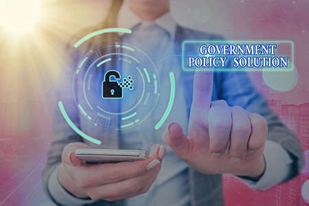 Conceptual hand writing showing Government Policy Solution. Concept meaning designed game plan created in response to emergency disaster Graphics padlock for web data security application system