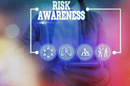 Conceptual hand writing showing Risk Awareness. Concept meaning recognizing factors that may cause a lifethreatening effect Information digital technology network infographic elements