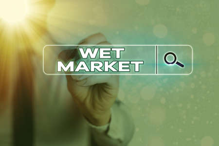 Writing note showing Wet Market. Business concept for market selling fresh meat fish produce and other perishable goods Web search digital information futuristic technology network connection