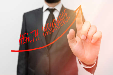 Text sign showing Health Insurance. Business photo showcasing system of financing the medical expenses of the insured digital arrowhead curve rising upward denoting growth development concept