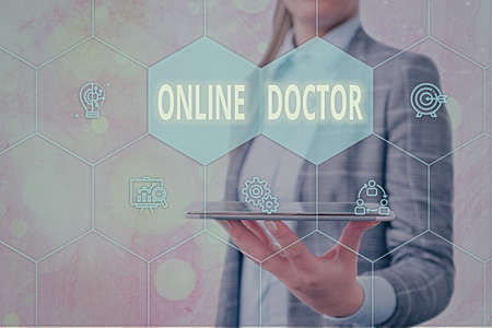 Handwriting text Online Doctor. Conceptual photo health practitioners who deliver healthcare over the internet Grids and different set up of the icons latest digital technology concept