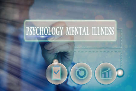 Writing note showing Psychology Mental Illness. Business concept for a behavioral pattern that causes significant distress Information digital technology network infographic elements