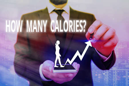 Writing note showing How Many Calories Question. Business concept for asking how much energy our body could get from it Arrow symbol going upward showing significant achievement