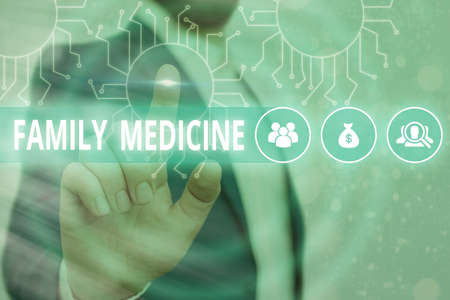 Text sign showing Family Medicine. Business photo showcasing comprehensive health care for the individual and family System administrator control, gear configuration settings tools concept