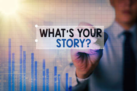 Text sign showing What S Your Story Question. Business photo showcasing Share or tell us your life experiences and success Arrow symbol going upward denoting points showing significant achievement