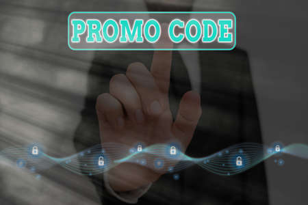 Word writing text Promo Code. Business photo showcasing letters or numbers that allows getting a discount on something Graphics padlock for web data information security application system