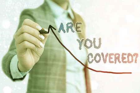 Writing note showing Are You Covered Question. Business concept for asking if they had insurance in work or life Digital arrowhead curve denoting growth development concept