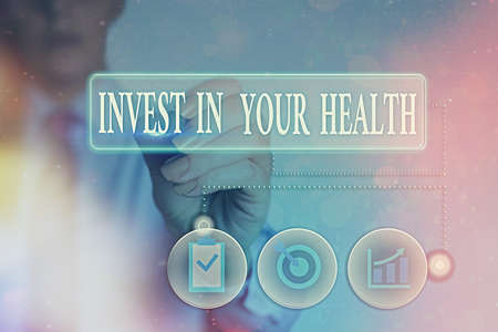 Writing note showing Invest In Your Health. Business concept for put money on maintenance or improvement of your health Information digital technology network infographic elements