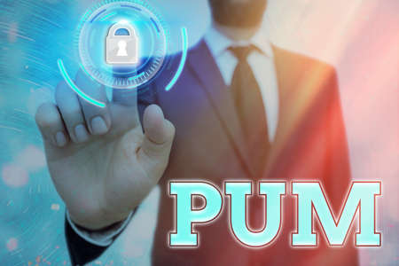 Conceptual hand writing showing Pum. Concept meaning unwanted change that can be performed by legitimate applications Graphics padlock for web data security application system