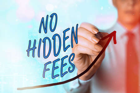 Writing note showing No Hidden Fees. Business concept for without or zero bank charge, service charge, or extras Digital arrowhead curve denoting growth development concept Фото со стока