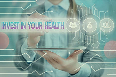 Text sign showing Invest In Your Health. Business photo text put money on maintenance or improvement of your health System administrator control, gear configuration settings tools concept Archivio Fotografico