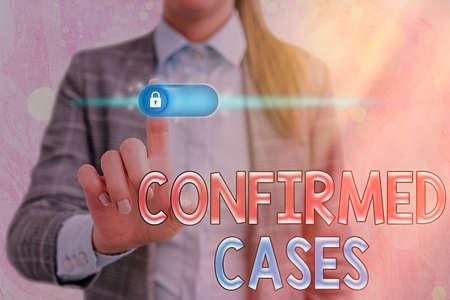 Word writing text Confirmed Cases. Business photo showcasing set of circumstances or conditions requiring action Graphics padlock for web data information security application system Reklamní fotografie