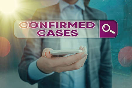 Text sign showing Confirmed Cases. Business photo showcasing set of circumstances or conditions requiring action Web search digital information futuristic technology network connection