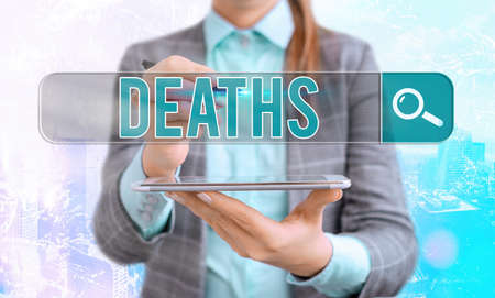 Word writing text Deaths. Business photo showcasing permanent cessation of all vital signs, instance of dying individual Web search digital information futuristic technology network connection