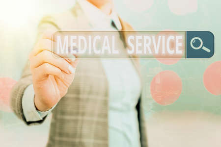 Writing note showing Medical Service. Business concept for care and treatment provided by a licensed medical provider Web search digital information futuristic technology network connection