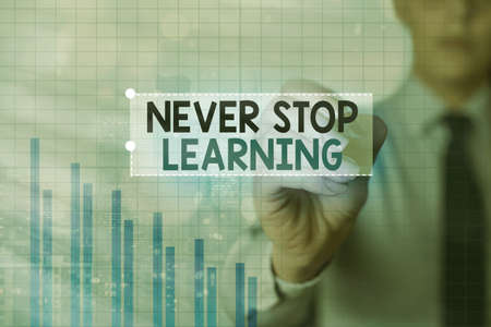 Text sign showing Never Stop Learning. Business photo showcasing continuous education and techniques to be competitive Arrow symbol going upward denoting points showing significant achievement