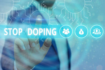Text sign showing Stop Doping. Business photo showcasing quit the use of banned athletic performanceenhancing drugs System administrator control, gear configuration settings tools concept 写真素材