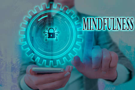 Writing note showing Mindfulness. Business concept for state of mind attained by concentrating one s is attention Graphics padlock for web data information security application system