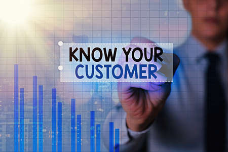 Text sign showing Know Your Customer. Business photo showcasing The idea of business identification and finance safety Arrow symbol going upward denoting points showing significant achievement