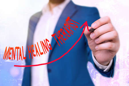 Writing note showing Mental Healing Therapist. Business concept for helping an individual express emotions in healthy ways Digital arrowhead curve denoting growth development concept Archivio Fotografico