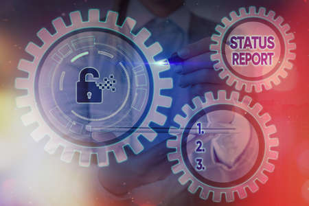 Writing note showing Status Report. Business concept for summarizes the particular situation as of a stated period Graphics padlock for web data information security application system Imagens