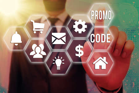 Text sign showing Promo Code. Business photo text letters or numbers that allows getting a discount on something Grids and different set up of the icons latest digital technology concept Stock Photo