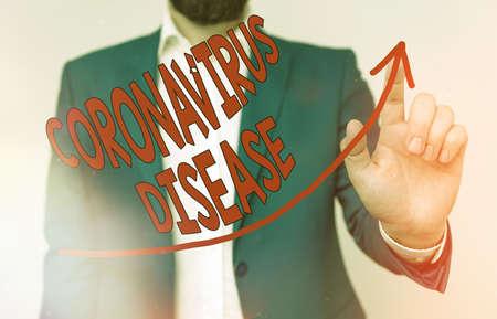 Handwriting text Coronavirus Disease. Conceptual photo defined as illness caused by a novel virus SARSCoV2 digital arrowhead curve rising upward denoting growth development concept