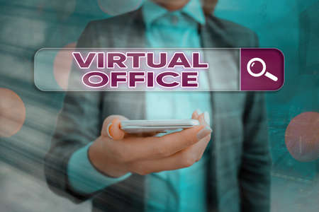 Text sign showing Virtual Office. Business photo showcasing operational domain of any business or organization virtually Web search digital information futuristic technology network connection