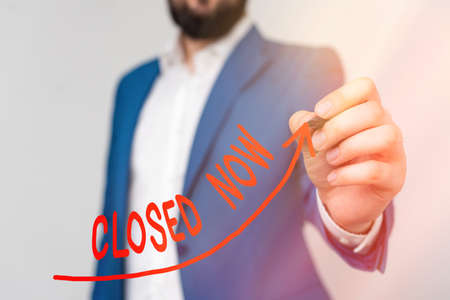 Word writing text Closed Now. Business photo showcasing of a business having ceased trading especially for a short period digital arrowhead curve rising upward denoting growth development concept
