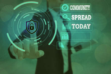 Conceptual hand writing showing Community Spread. Concept meaning dissemination of a highlycontagious disease within the local area Graphics padlock for web data security application system
