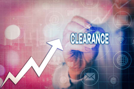 Writing note showing Clearance. Business concept for action or method to remove or distribute something or dispersing Arrow symbol going upward showing significant achievement