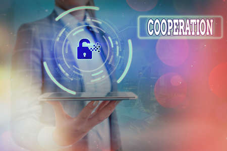 Text sign showing Cooperation. Business photo text the acts of someone supportive in doing what is needed Graphics padlock for web data information security application system