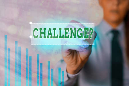 Text sign showing Challenge Question. Business photo showcasing Invitation to engage in a race in particular duel Arrow symbol going upward denoting points showing significant achievement