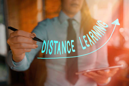 Text sign showing Distance Learning. Business photo showcasing educational lectures broadcasted over the Internet remotely digital arrowhead curve rising upward denoting growth development concept
