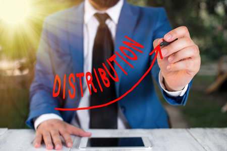Text sign showing Distribution. Business photo text the behavior of several recipients sending something out digital arrowhead curve rising upward denoting growth development concept Stock Photo