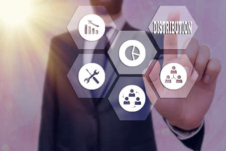 Text sign showing Distribution. Business photo text the behavior of several recipients sending something out Grids and different set up of the icons latest digital technology concept