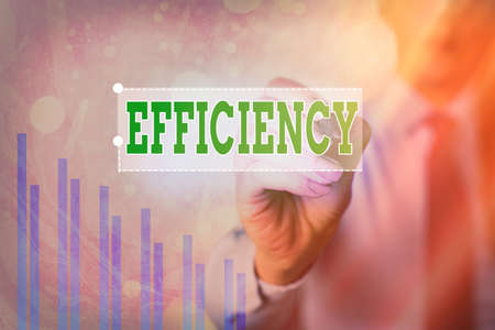 Text sign showing Efficiency. Business photo showcasing ability to prevent a waste of resources energy money and time Arrow symbol going upward denoting points showing significant achievement