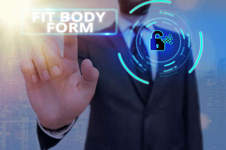 Conceptual hand writing showing Fit Body Form. Concept meaning refers to a body that perfectly aligns of shape and contour Graphics padlock for web data security application system Фото со стока