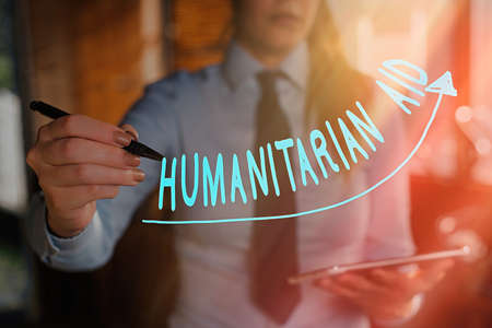 Text sign showing Humanitarian Aid. Business photo showcasing immediate assistance provided after natural and manmade disaster digital arrowhead curve rising upward denoting growth development concept Фото со стока