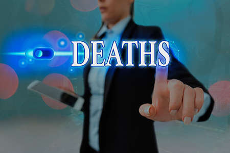 Conceptual hand writing showing Deaths. Concept meaning permanent cessation of all vital signs, instance of dying individual Graphics padlock for web data security application system